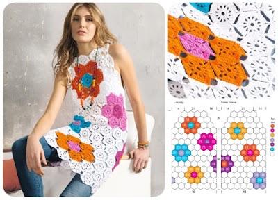 Túnica-vestido con motivos de flores hexagonales