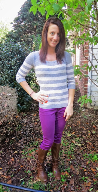 Purple Pants Brown Boots Grey Top outfit