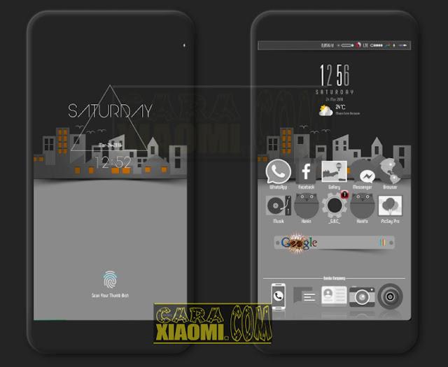 Tema Xiaomi Grey Black City V1 Mtz Untuk MIUI V9.5.4.0 Kebawah