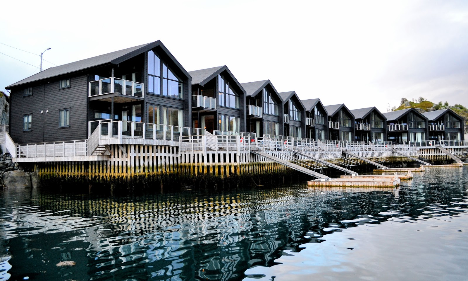 Hamn I Senja rorbuer are at the deluxe end of the spectrum featuring 2-bedroom villas with living, dining, kitchen and balconies along the water's edge.
