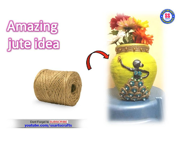 Here is best out of waste crafts,diy crafts,how to make jute crafts,wall hanging using jute,room decor jute crafts,jute bags,pot decor with jute,jute crafts,how to make pot decoration with jute