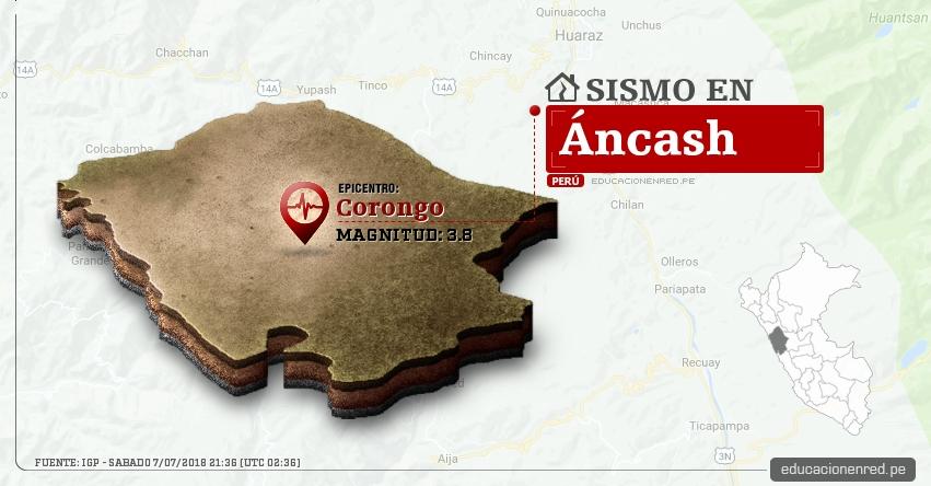 Temblor en Áncash de magnitud 3.8 (Hoy Sábado 7 Julio 2018) Sismo EPICENTRO Corongo - IGP - www.igp.gob.pe