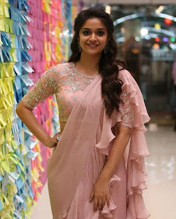 Keerthy Suresh in Saree with Cute and Lovely Smile with Chubby Cheeks at IFFI in GOA 3
