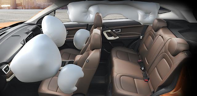 टाटा हैरियर ब्रेकिंग और सेफ्टी, टाटा हैरियर ब्रेकिंग और सेफ्टी airbag