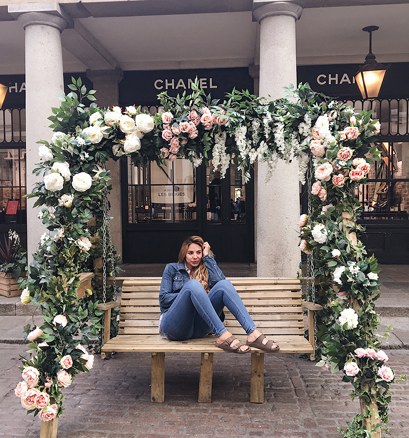 chanel store in convent garden, floral swing set in london, chanel store in london