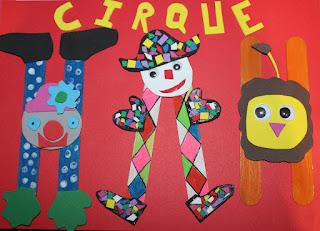 activité enfant sur le theme du cirque : clown arlequin lion