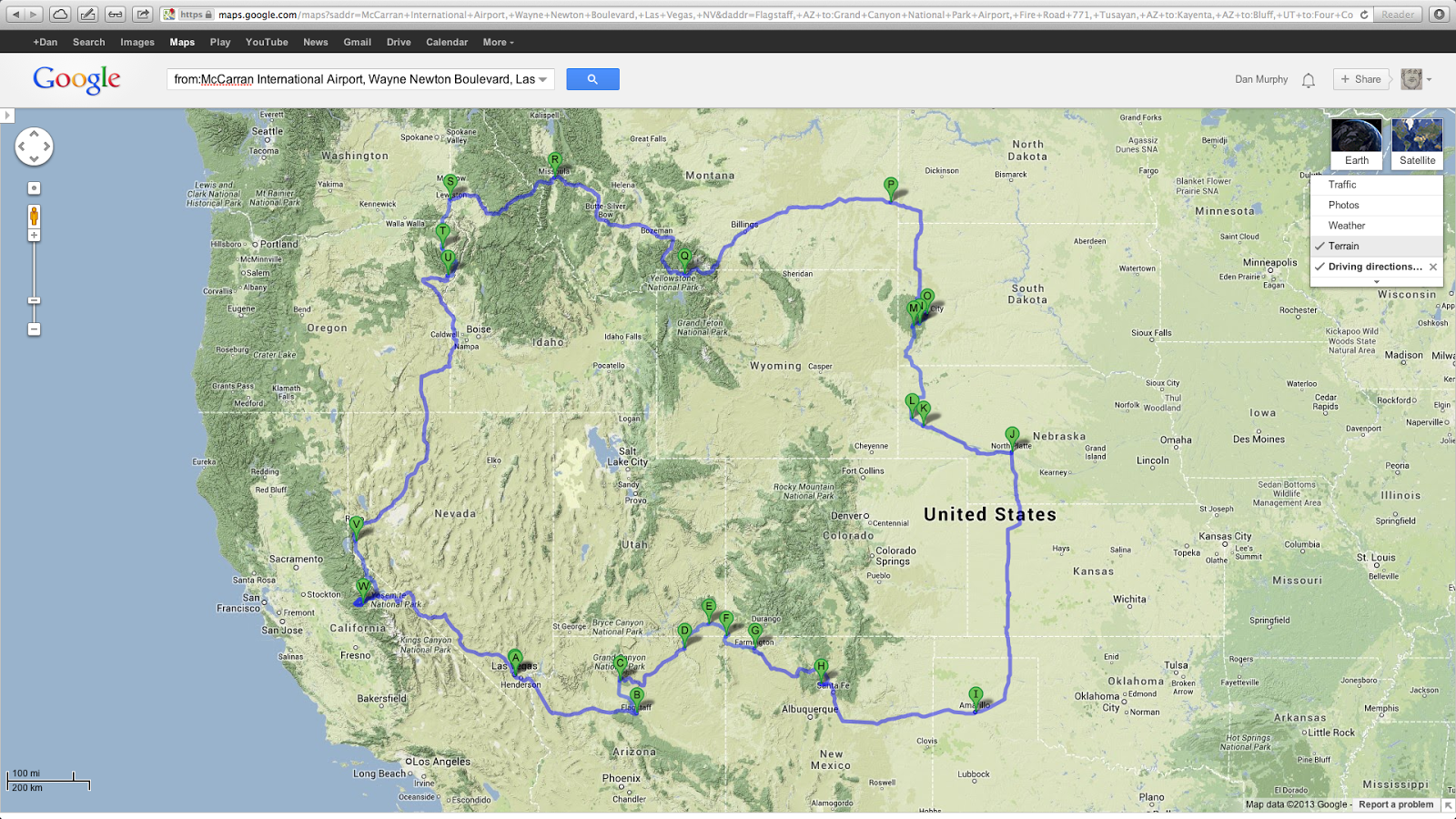 Dan Murphy: Updated Western USA Road Trip Route & Highlights on my island map, my va map, my world map, my usa flag,