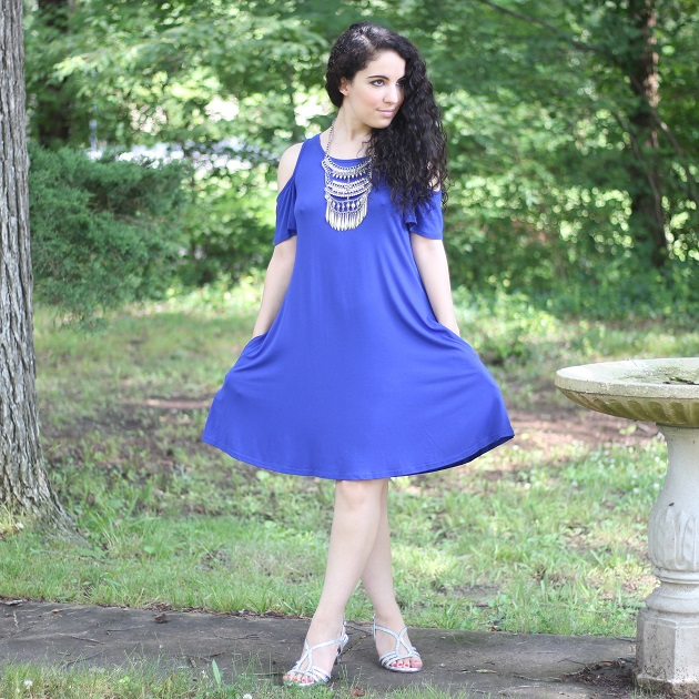 Blue Cold Shoulder Dress