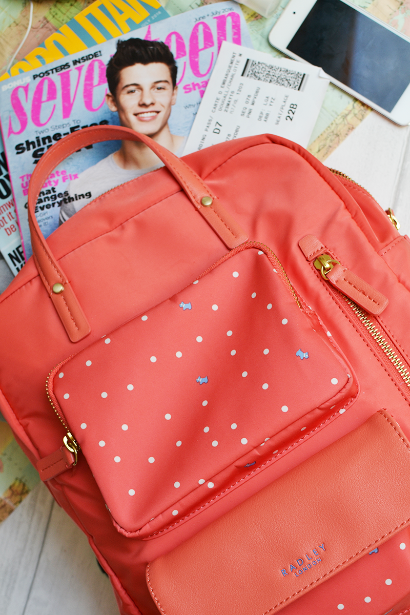 In Flight Long Haul Beauty Travel Essentials Radley Backpack | Colours and Carousels - Scottish Lifestyle, Beauty and Fashion blog