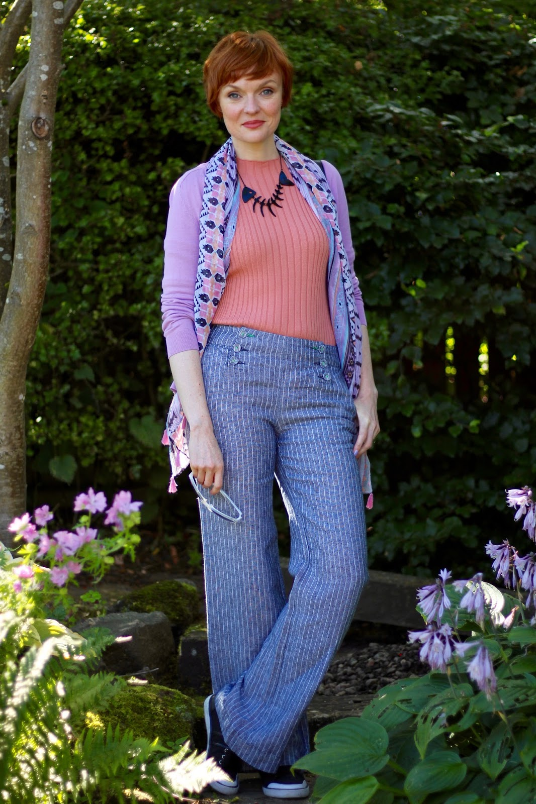 Fake Fabulous | Striped linen sailor trousers, blush, lilac and black | Summer layers