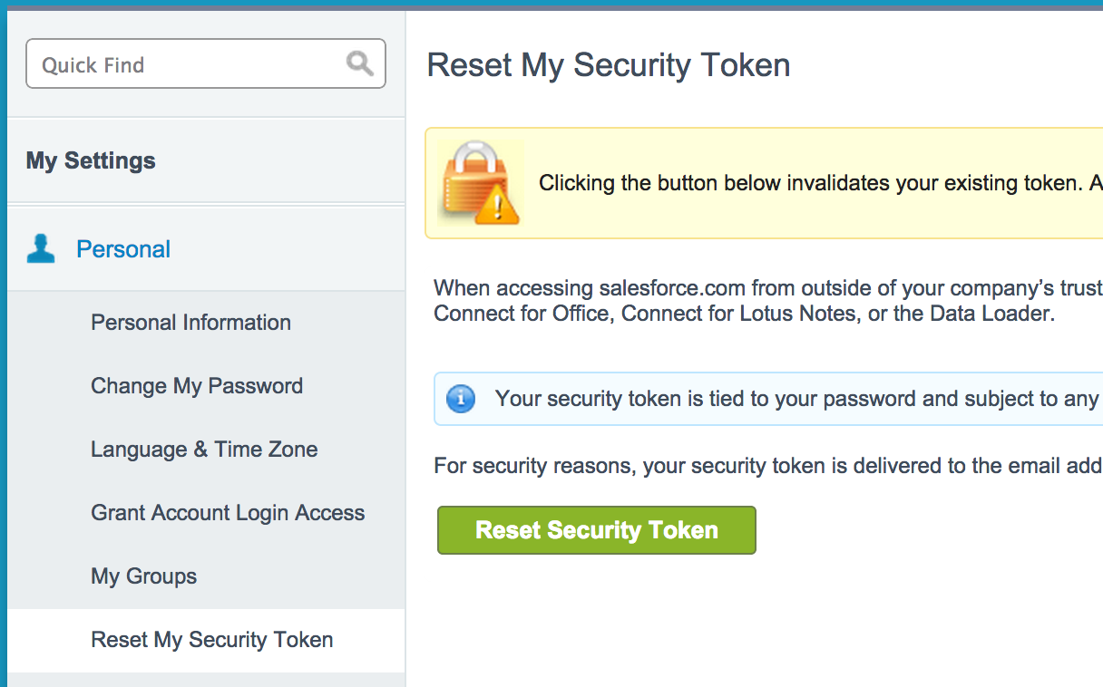 Reset your Security Token
