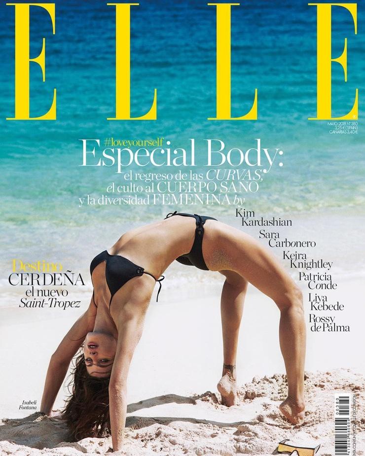 Isabeli Fontana models swim styles for Elle Spain May 2018