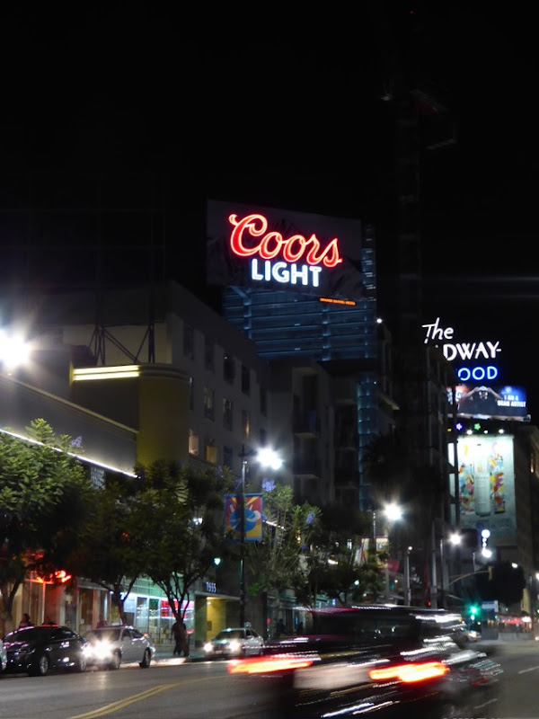 Coors Light neon sign billboard night Sunset & Vine