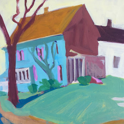 Painting of a blue house with pink shutters by artist Barb Mowery.