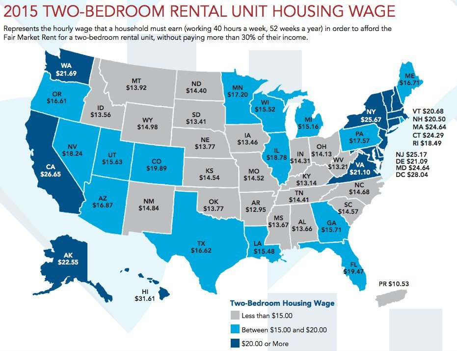 2015 Two-bedroom rental unit housing wage