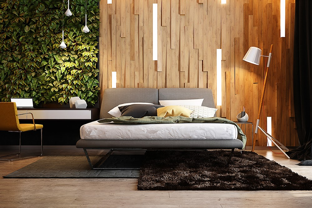 hanging-light-strips-living-bedroom-modern-wood-accent-wall