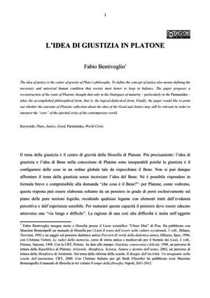 Fabio Bentivoglio - L'idea di giustizia in Platone