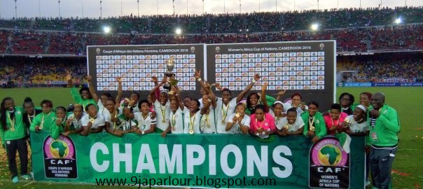 super falcons lift title trophy