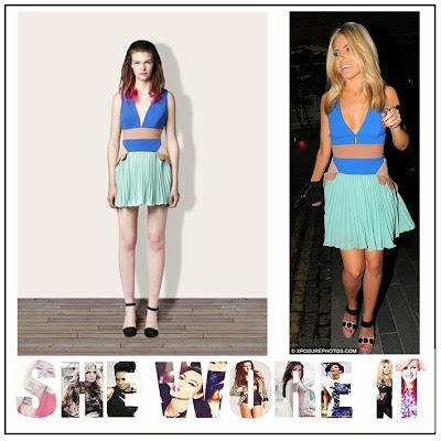 The Saturday, Mollie King, Three Floor, Pale Aqua Green, Bright Blue,  Tan, Mini Dress, Deep V-Neck, Pleated Skirt, Pleat Detail,