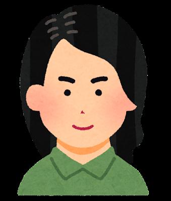ロングヘアーの男性のイラスト(七三分け)