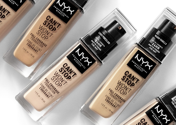 NYX Can't Stop Won't Stop Full Coverage Foundation Review Photos Swatches Oily Skin Before After MAC Equivalents NC15 NC35