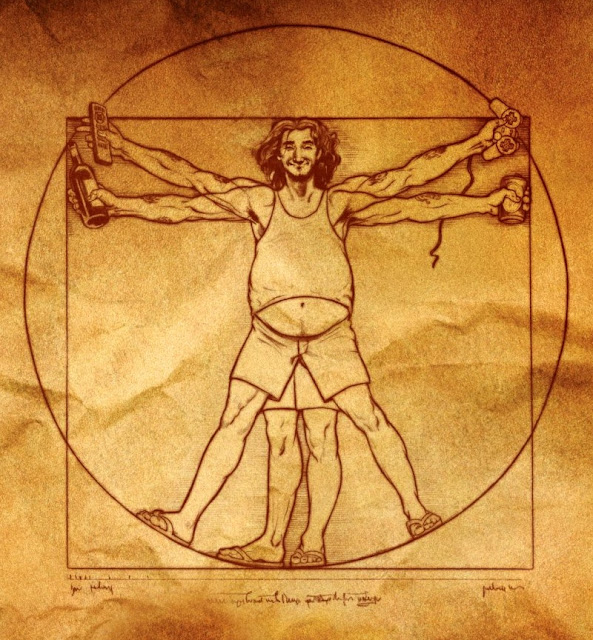 'The Vitruvian Man' from Idiocracy movie poster