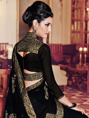 Beautiful Indian Model Girl In Black Georgette Embroidered Saree.