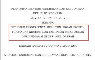 Permendikbud Nomor 12 tahun 2017 tentang Juknis TPG Kemendikbud