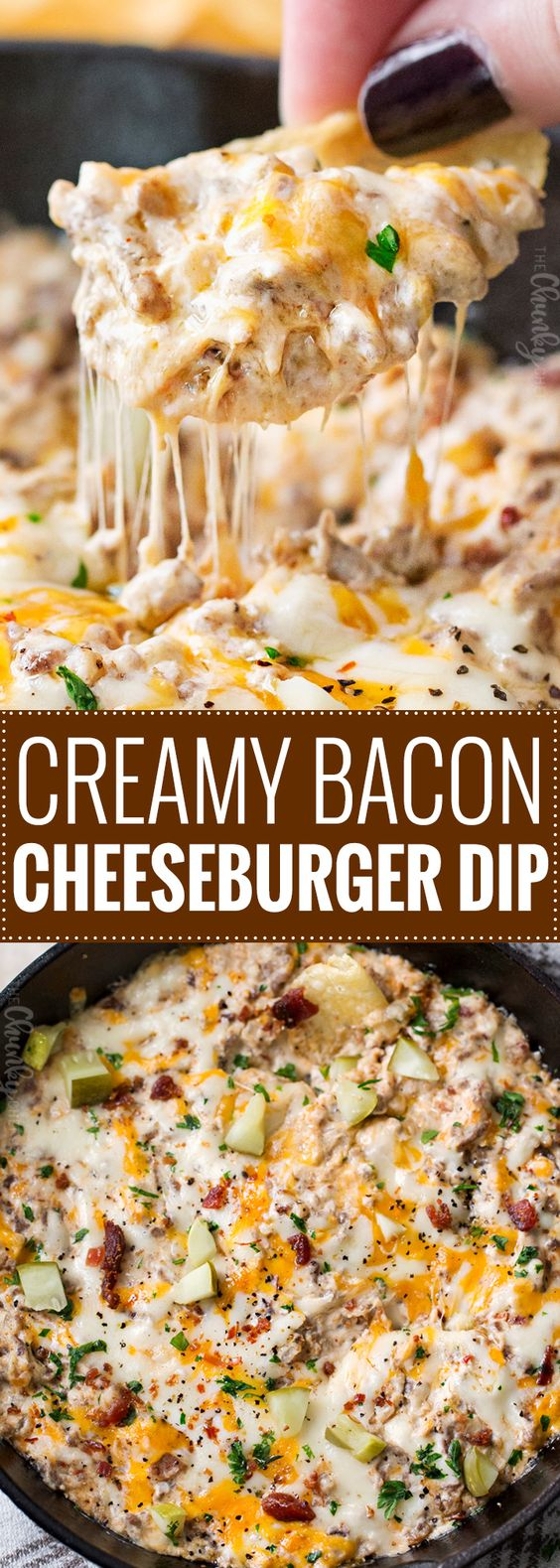 Creamy Skillet Bacon Cheeseburger Dip #appetizer #creamy #skillet #bacon #cheeseburger #dip
