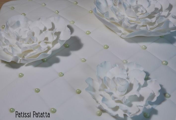 cake design, gâteau 3D, pâte à sucre, gumpaste, fondant, white cake, flowers cake