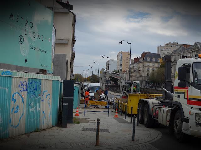Et là, c'est le chantier du côté du Quai Chateaubriand... Le 29 octobre 2018