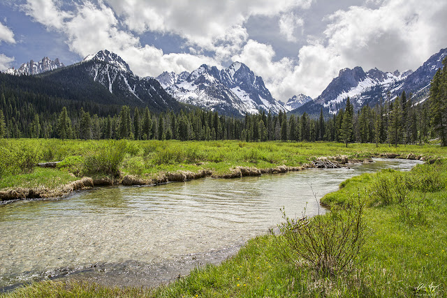 Meadow with river and Horstmann Peak in the Sawtooth Wilderness of Idaho