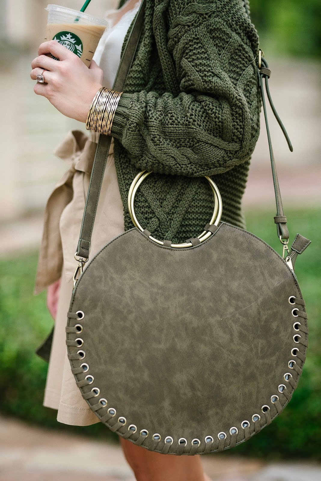 Twinning With My Starbucks Iced Coffee: $88 Circle Tote, $55 Paper Bag Waist Skirt & $48 Olive Green Cardigan - Something Delightful Blog