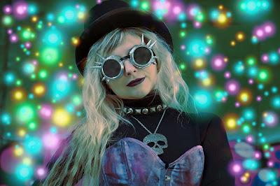 A punk woman wearing cyberpunk goggles.