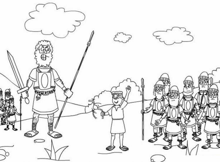Dibujos Biblicos Para Colorear Del Rey David: El Renuevo De Jehova: David Y Goliat