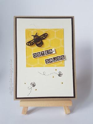 Osterkarte - Stampinup - Fying Home - Biene - Stoffpapier - Karte - Thinlits Libellen