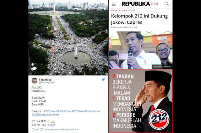 Tagar Relawan Jokowi Dompleng 212 Keok Dilibas Warganet, #212BukanUntukJokowi Puncaki Trending Topik