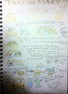 Sketch sequences showing Mary and Joseph's journey in a yellow taxi driven by a donkey.