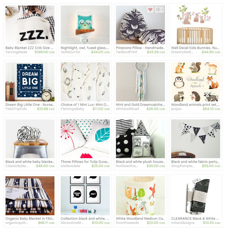 An Etsy Treasury of  neutral woodland themed nursery decor.. Made in Canada. via www.creativeclementine.com