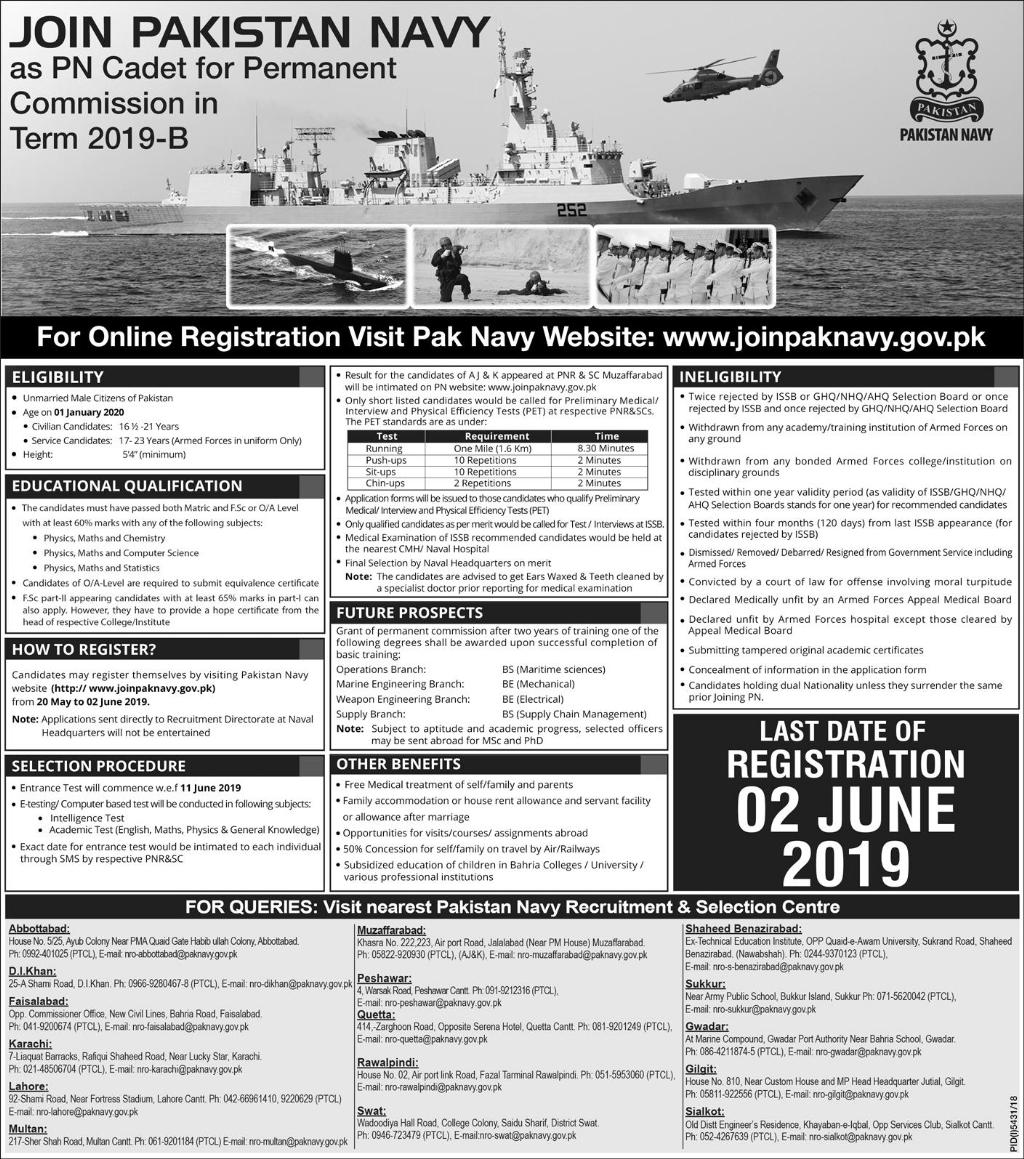 Advertisement for Pak Navy Jobs May 2019