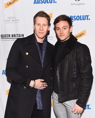 Dustin Lance Black and Tom Daley photographed at launch