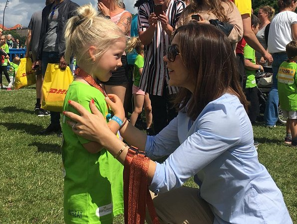 Crown Princess Mary attended the Children's Relay 2017 held at the Fælledparken in Copenhagen as patron of the Mary Foundation