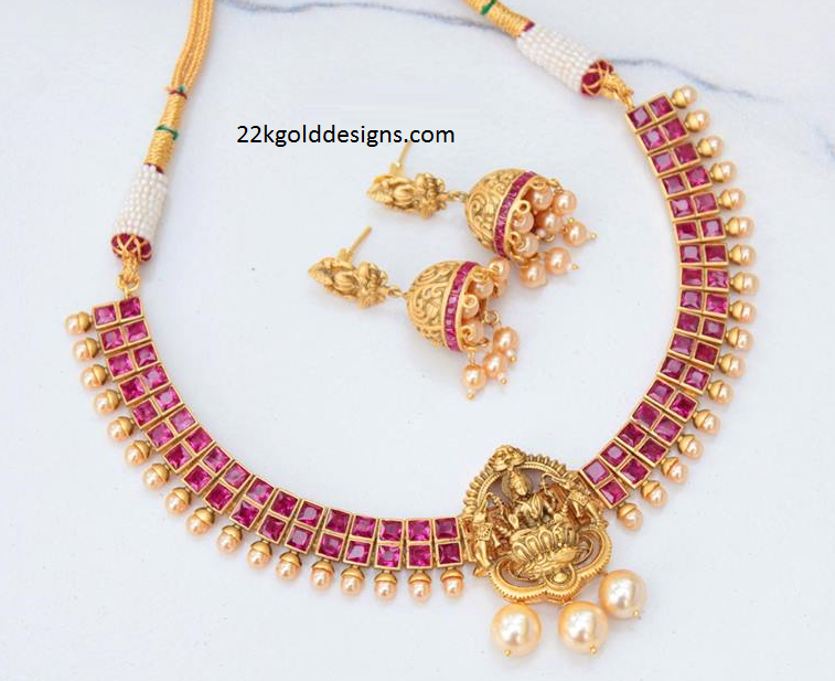 One Gram Gold Ruby Lakshmi Necklace with Jhumkas