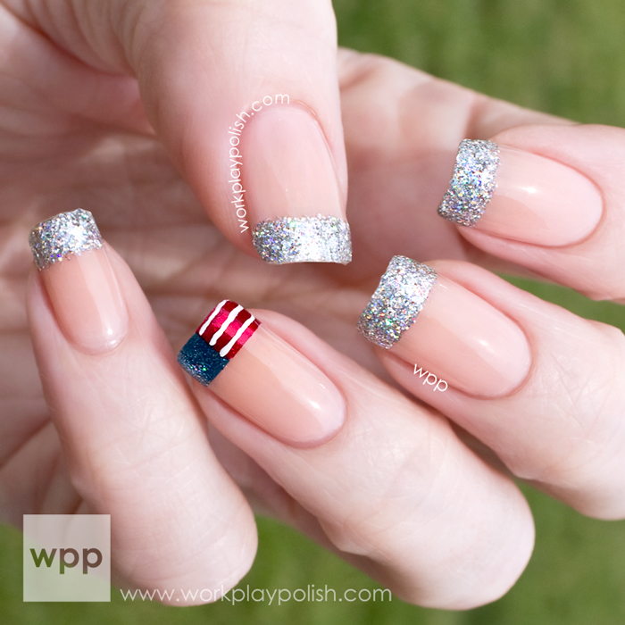 Sparkly Tipped Fourth of July Mani