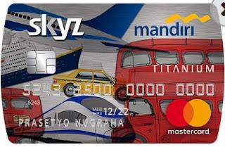 Design Kartu Kredit Mandiri Skyz Card bergambar alat-alat transportasi