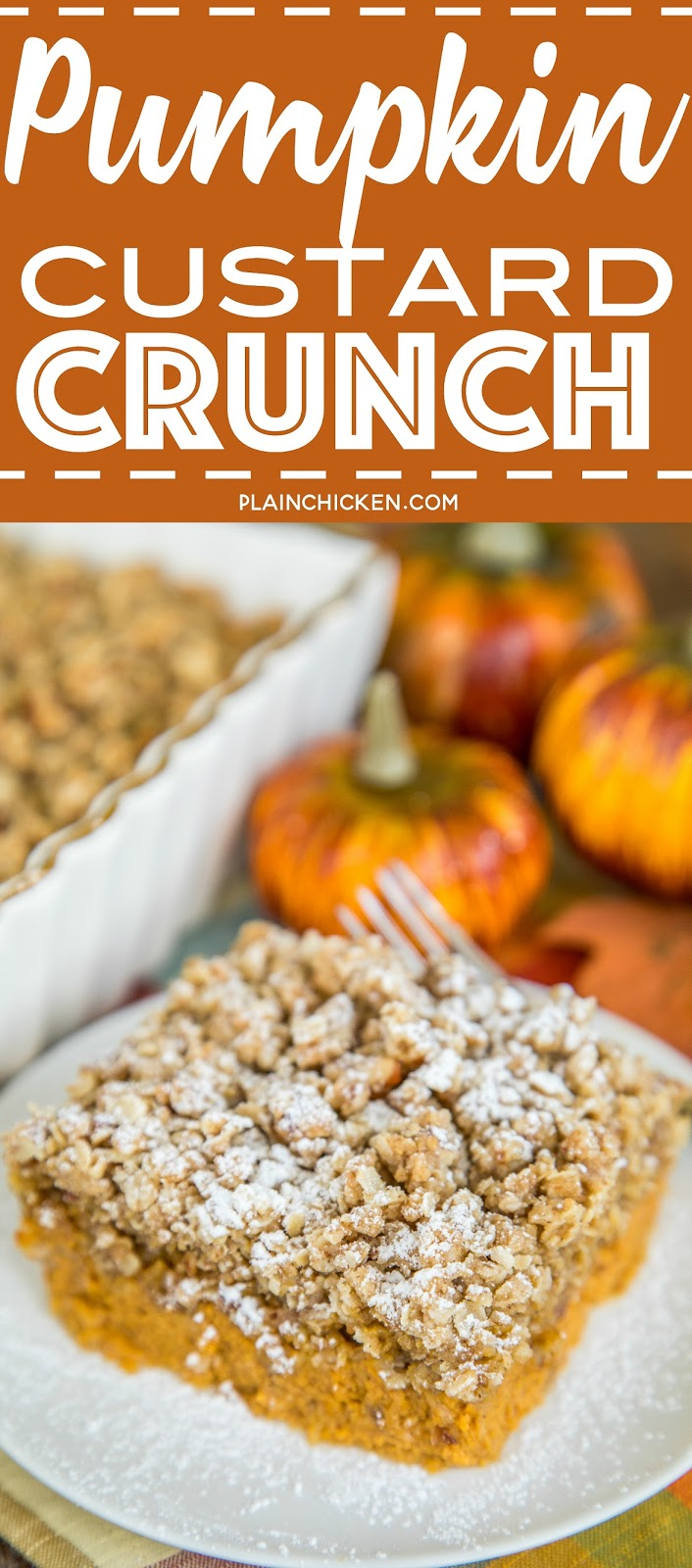 Pumpkin Custard Crunch - quick pumpkin custard topped with a crunchy granola topping. SO good! Great for holiday meals! Can make ahead of time and warm up when ready to serve. Top with powdered sugar, whipped cream or ice cream. Took this to a party and it was gone in a flash! Such a great pumpkin dessert recipe!