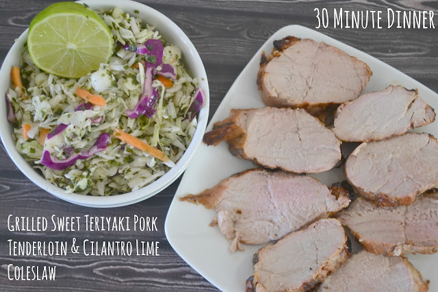 Cilantro Lime Coleslaw, easy coleslaw recipe, Lime Coleslaw, healthy coleslaw, Grilled Sweet Teriyaki Pork Tenderloin, pork recipes, easy dinner recipes, grilled pork recipe, side dishes for pork