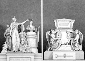 Monuments to Major General Dundas (left) and Captains Moss and   Riou (right)  in St Paul's Cathedral from The Monuments and Genii   of St Paul's  Cathedral and of Westminster Abbey by GL Smyth (1826)
