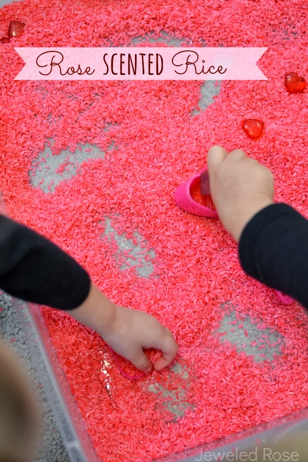 Rose scented rice for glorious sensory play