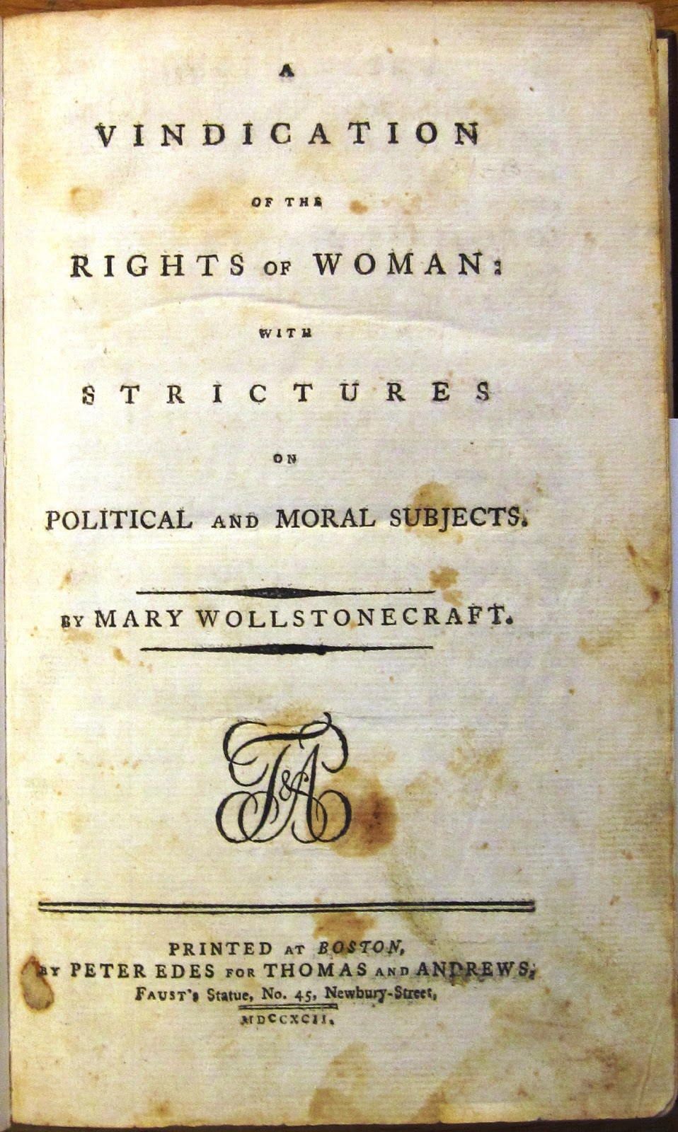 "mary wollstonecraft essay A feminist vindication of mary wollstonecraft julie a monroe in 1928, virginia woolf made a statement which could well be addressed to today's feminist critics: ""towards the end of the eigh­."